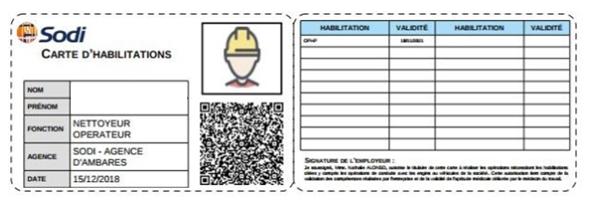 Carte d'habilitation QR code